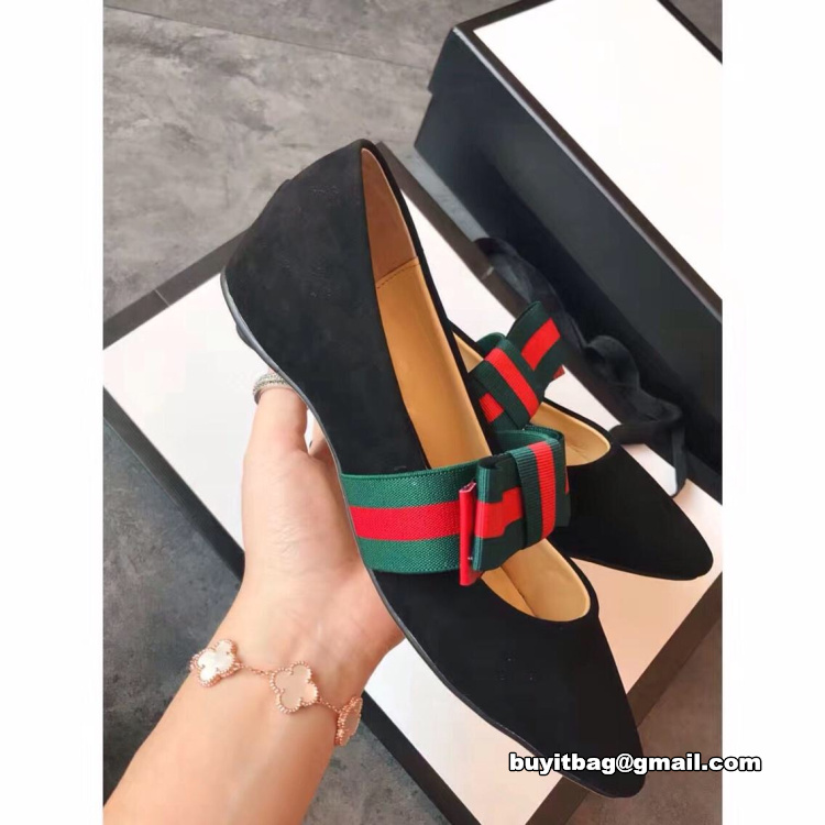 adc058ef2d741b high quality best discount Gucci women Suede ballet flat with Web ...
