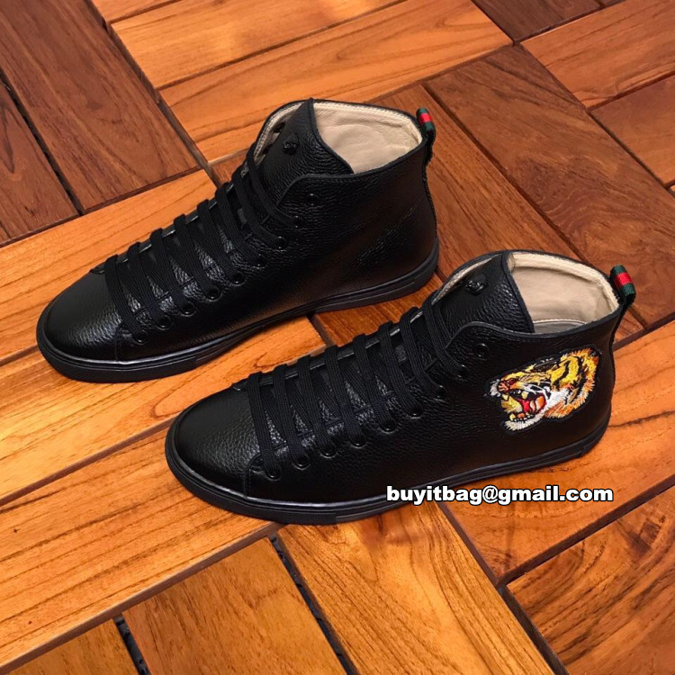 29b68926c81 best high quality cheap discount Gucci men s Black Leather high top ...