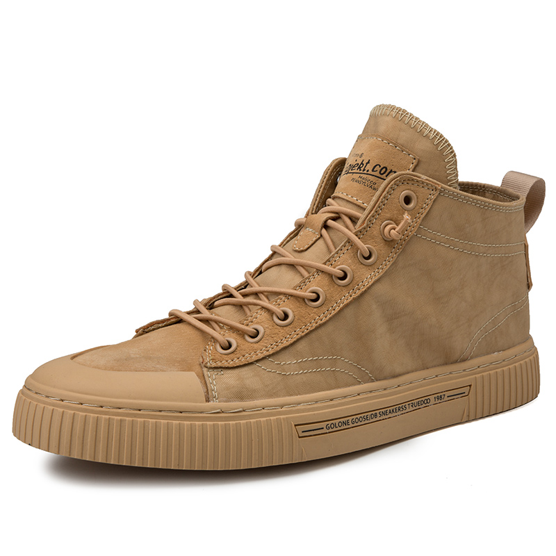 Men Casual Canvas Shoes Skateboard Sneakers Breathable Pig Leather High Top Martin Boots