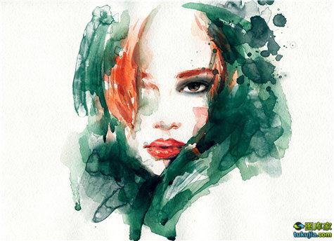 女孩画像 女孩肖像 美女 素描 水彩画 美女画像 美女肖像 铅笔画 JPG678