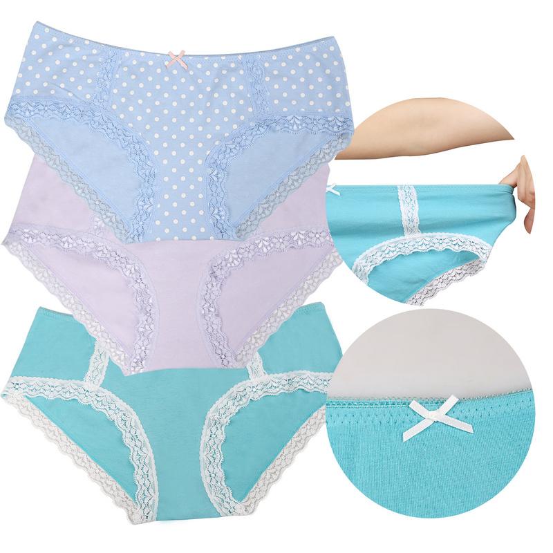 Damen Unterwäsche Spitzenslip Modern Dessous 3x丨5x Unterhosen Farbblock Hipster