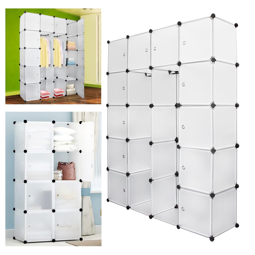 DIY Kleiderschrank Garderobe mit Türen Steckregal Regalsystem Kleiderschrank HOT