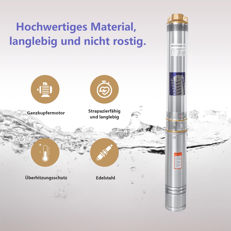 Tiefbrunnenpumpe Sandverträglich 0.37-1.1kW Brunnenpumpe Submersible Pump