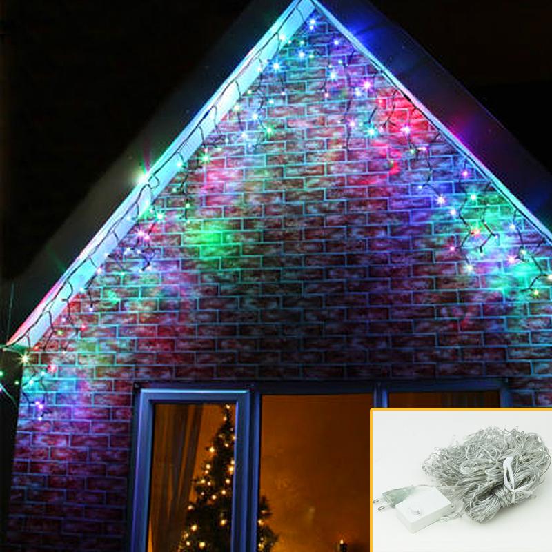 20m led eisregen lichterkette 600 leds weihnachtsdeko. Black Bedroom Furniture Sets. Home Design Ideas