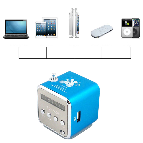 lcd mini lautsprecher box mp3 musik player fm radio usb stick micro sd blau ebay. Black Bedroom Furniture Sets. Home Design Ideas