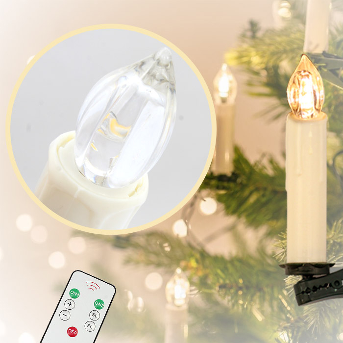 20x kabellose led weihnachtskerzen mit fernbedienung baumkerzen lichterkette ebay. Black Bedroom Furniture Sets. Home Design Ideas