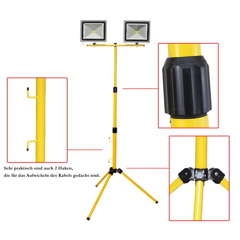 2x 20w led fluter baustrahler baulampe kaltwei mit doppelt teleskopstativ neu ebay. Black Bedroom Furniture Sets. Home Design Ideas