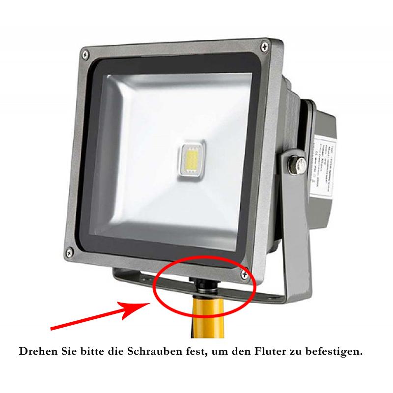 2x 50w led fluter strahler mit teleskop stativ ip65 wasserdicht au enstrahler ebay. Black Bedroom Furniture Sets. Home Design Ideas