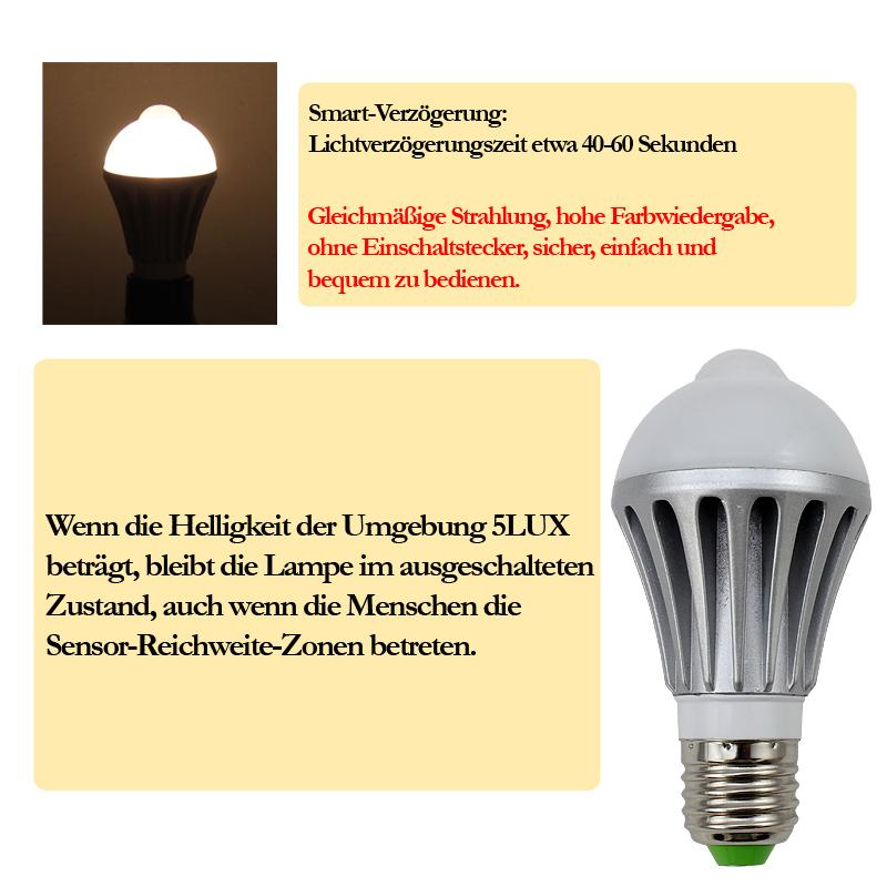 2x 7w e27 led birne lampe mit bewegungsmelder pir d mmerungssensor treppen bulb ebay. Black Bedroom Furniture Sets. Home Design Ideas