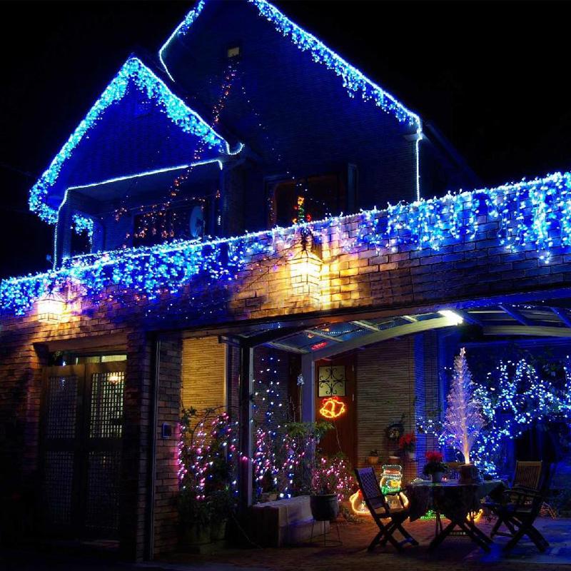 400 leds led eiszapfen weihnachten lichterkette weihnachtsbeleuchtung au en blau ebay. Black Bedroom Furniture Sets. Home Design Ideas