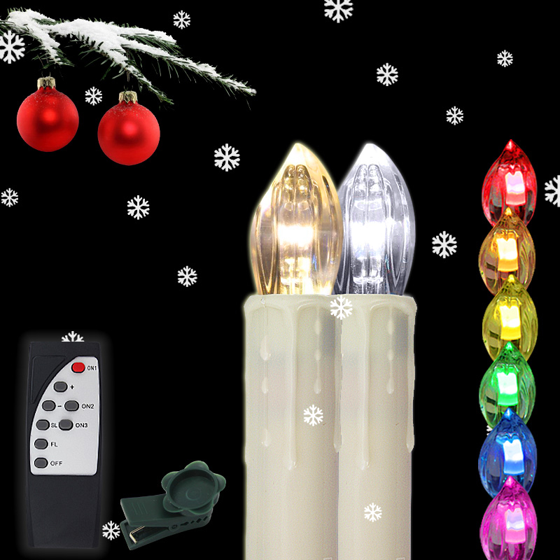 60x rgb led weihnachtsbaum kerzen lichterkette lampen. Black Bedroom Furniture Sets. Home Design Ideas
