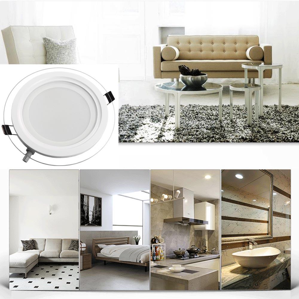 6xled panel glas beleuchtung einbaustrahler deckenleuchte trafo farbe wechselbar ebay. Black Bedroom Furniture Sets. Home Design Ideas