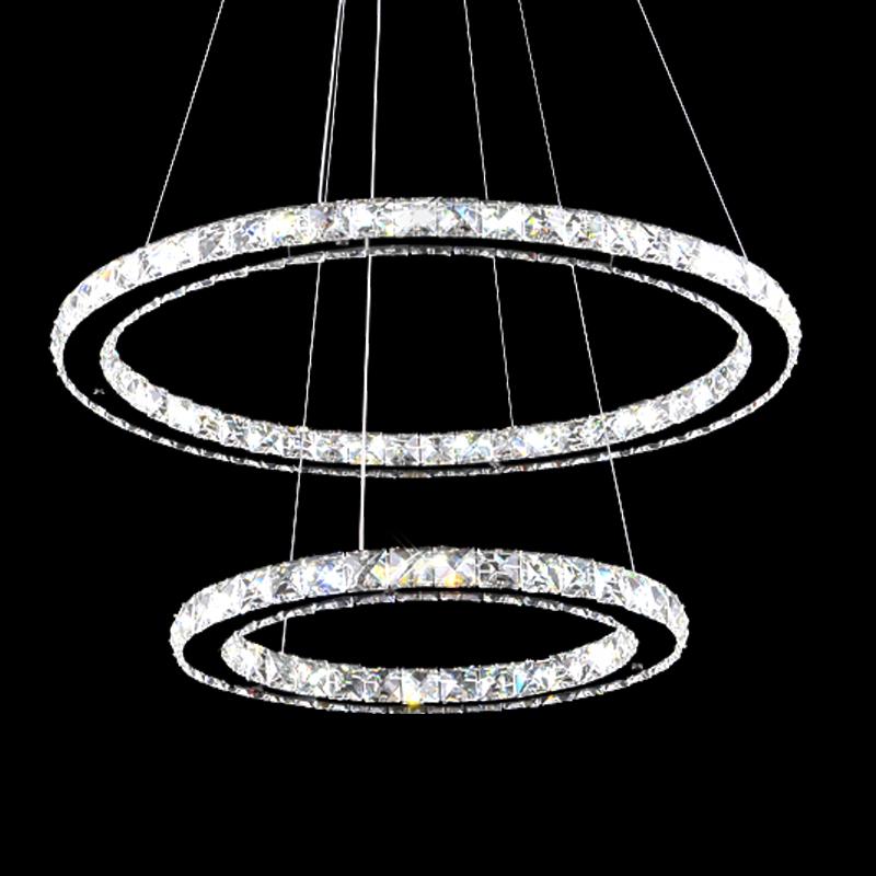 2 ringe led kristall h ngeleuchte pendelleuchte h ngelampe dimmbar fernbedienung ebay. Black Bedroom Furniture Sets. Home Design Ideas