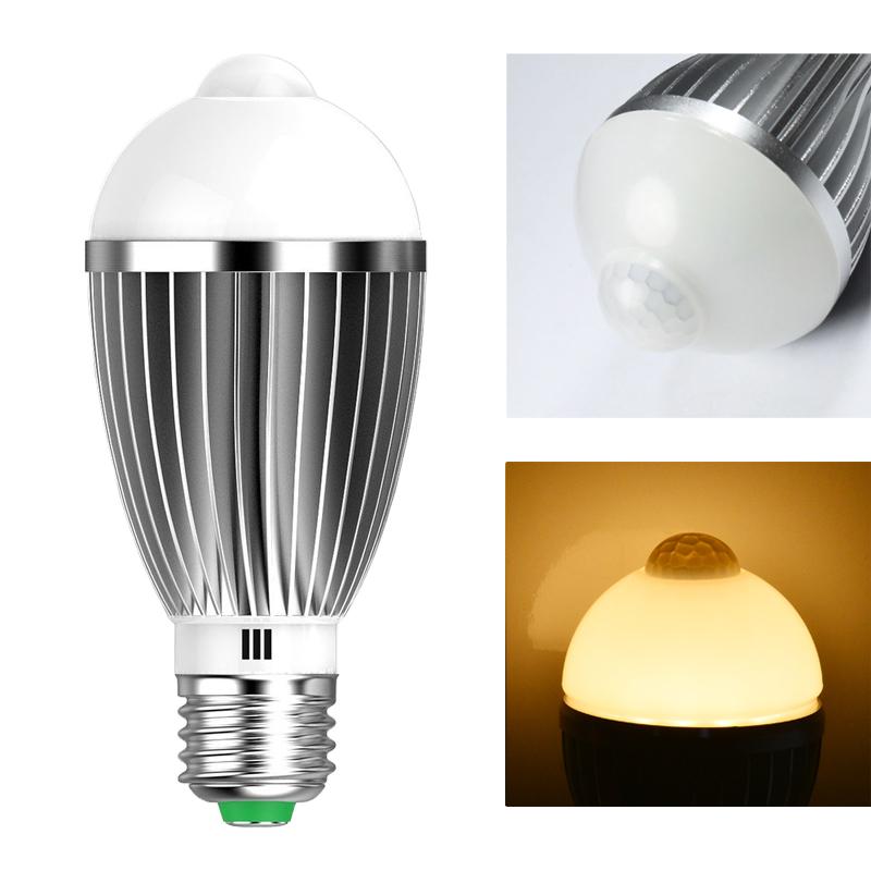 7w led e27 birne lampe warmwei gl hbirne mit bewegungsmelder pir sensor licht ebay. Black Bedroom Furniture Sets. Home Design Ideas