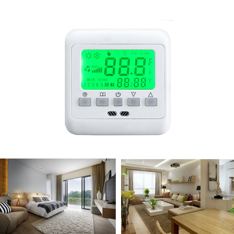 lcd16a digital raumthermostat thermostat fu bodenheizung. Black Bedroom Furniture Sets. Home Design Ideas