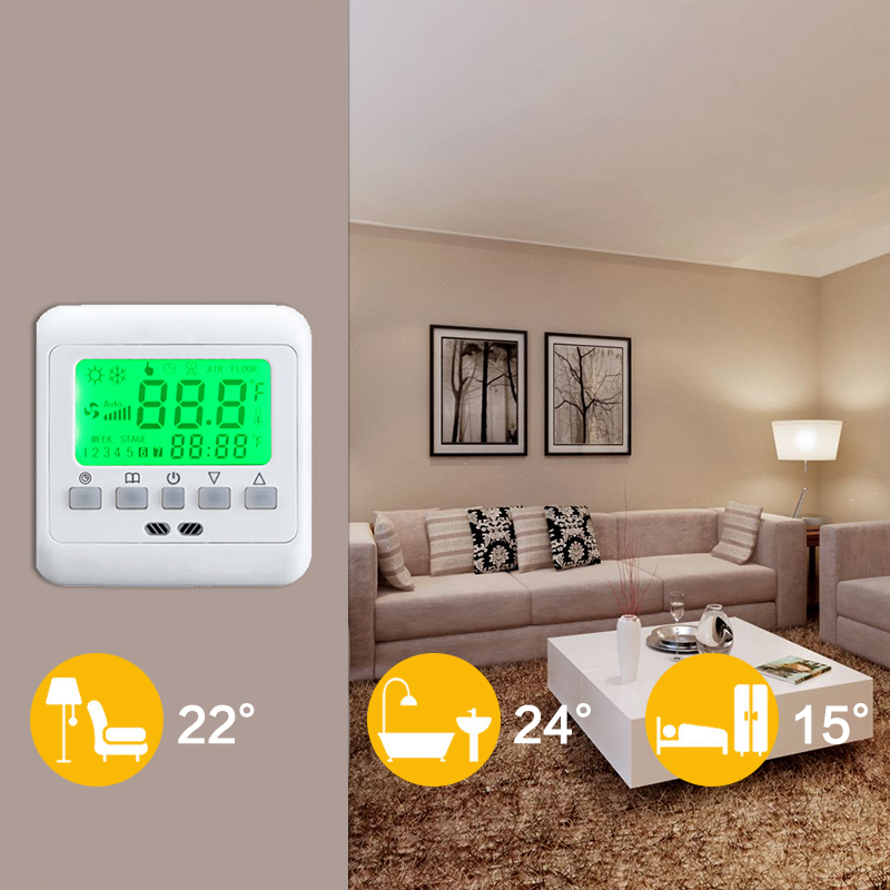 2x raumthermostat thermostat digitaler digital. Black Bedroom Furniture Sets. Home Design Ideas