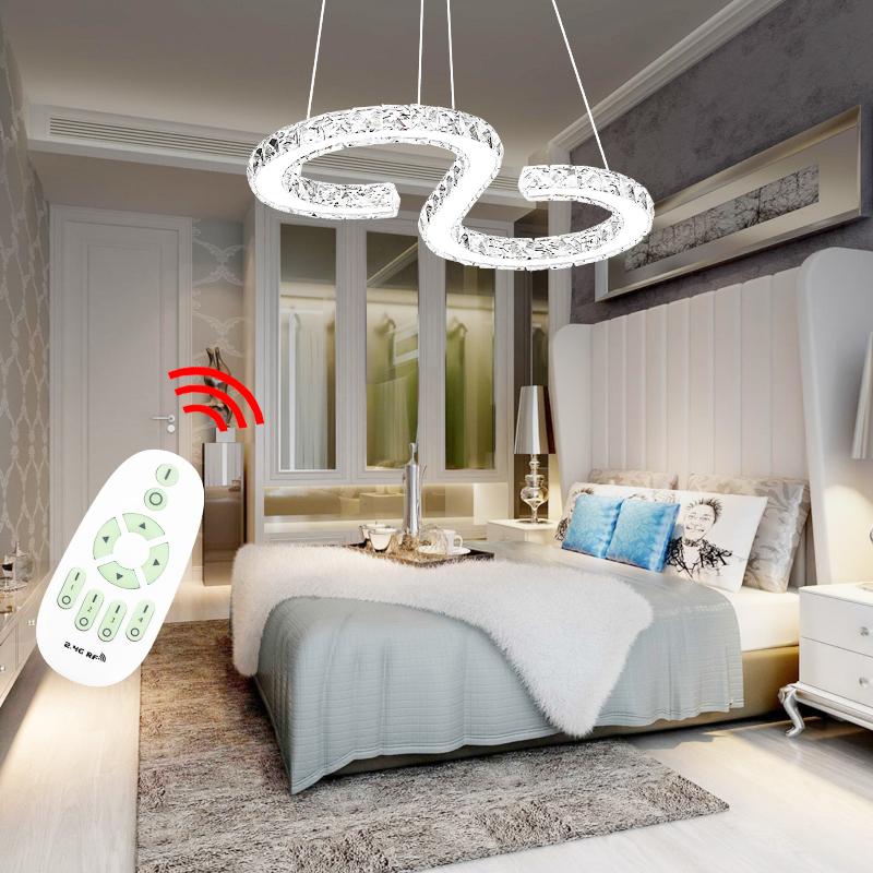 36W LED Kristall Deckenlampe Pendelleuchte Luster Wohnzimmer Lampe Dimmbar Buro