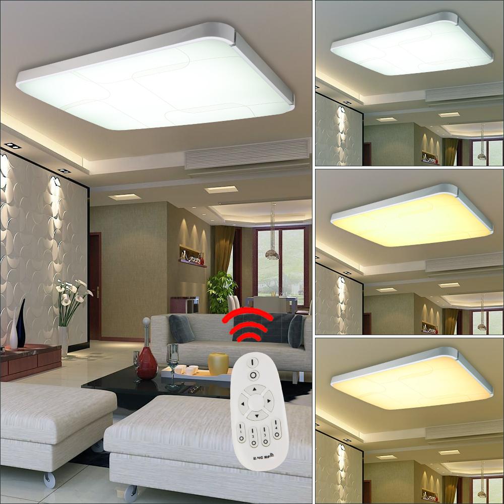 48w 96w led deckenleuchte deckenlampe dimmbar k chen lampe wohnzimmer silber ebay. Black Bedroom Furniture Sets. Home Design Ideas
