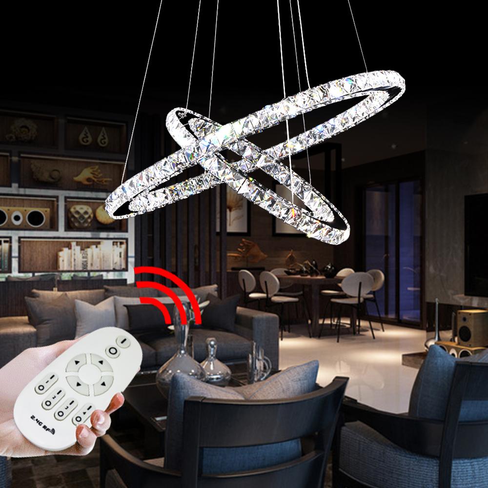 64w 2 ringe led kristall deckenlampe h ngeleuchte dimmbar deckenleuchte aula ebay. Black Bedroom Furniture Sets. Home Design Ideas