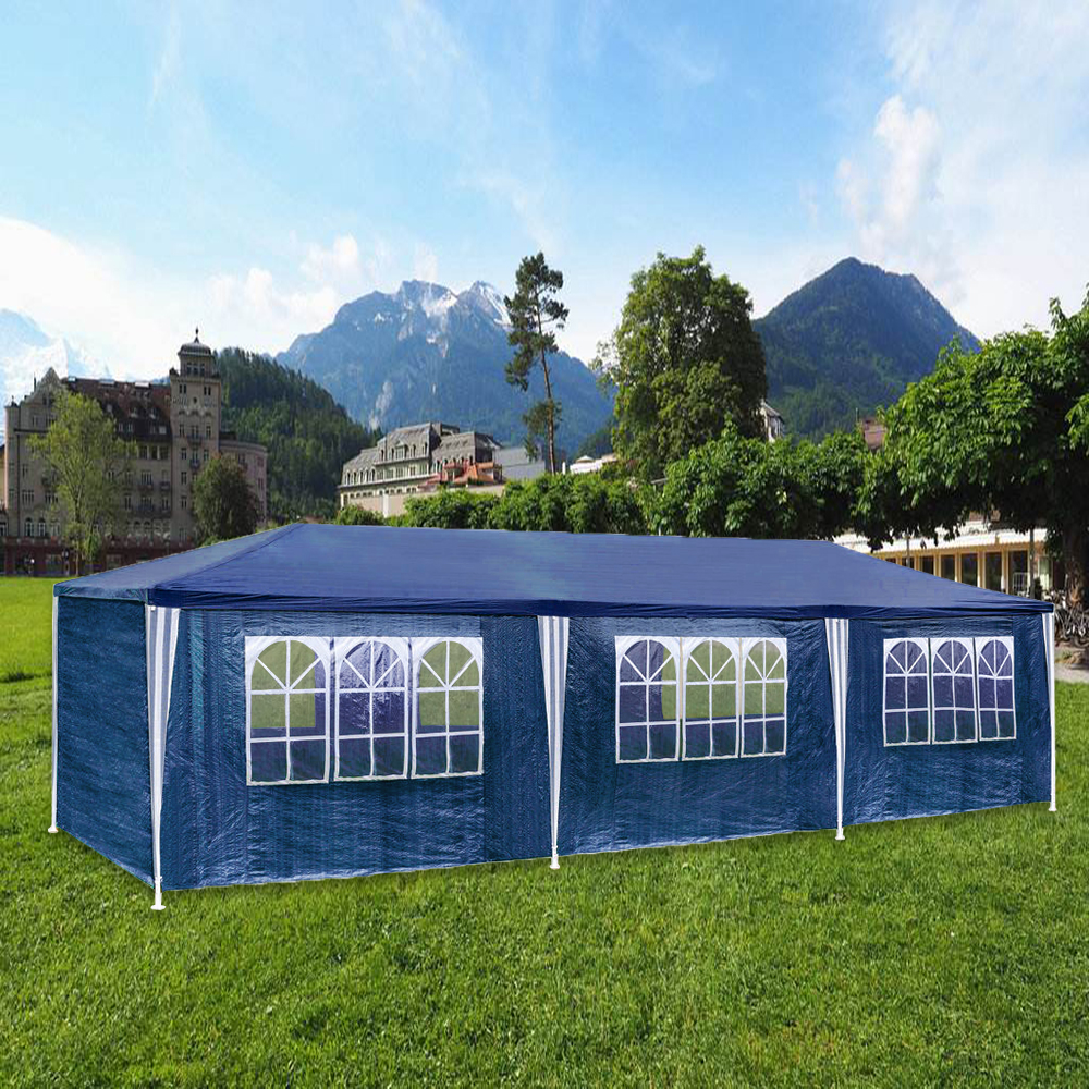 3x9m blau partyzelt festzelt camping pavillon seitenteile zelt bierzelt garten ebay. Black Bedroom Furniture Sets. Home Design Ideas