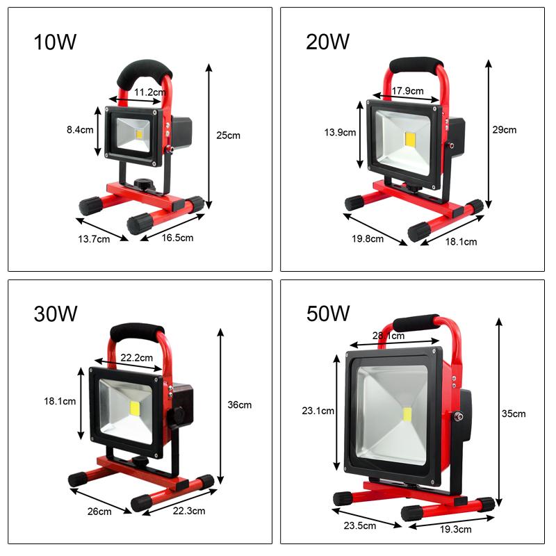 10 50w projecteur led port rechargeable clairage for Eclairage exterieur led rechargeable