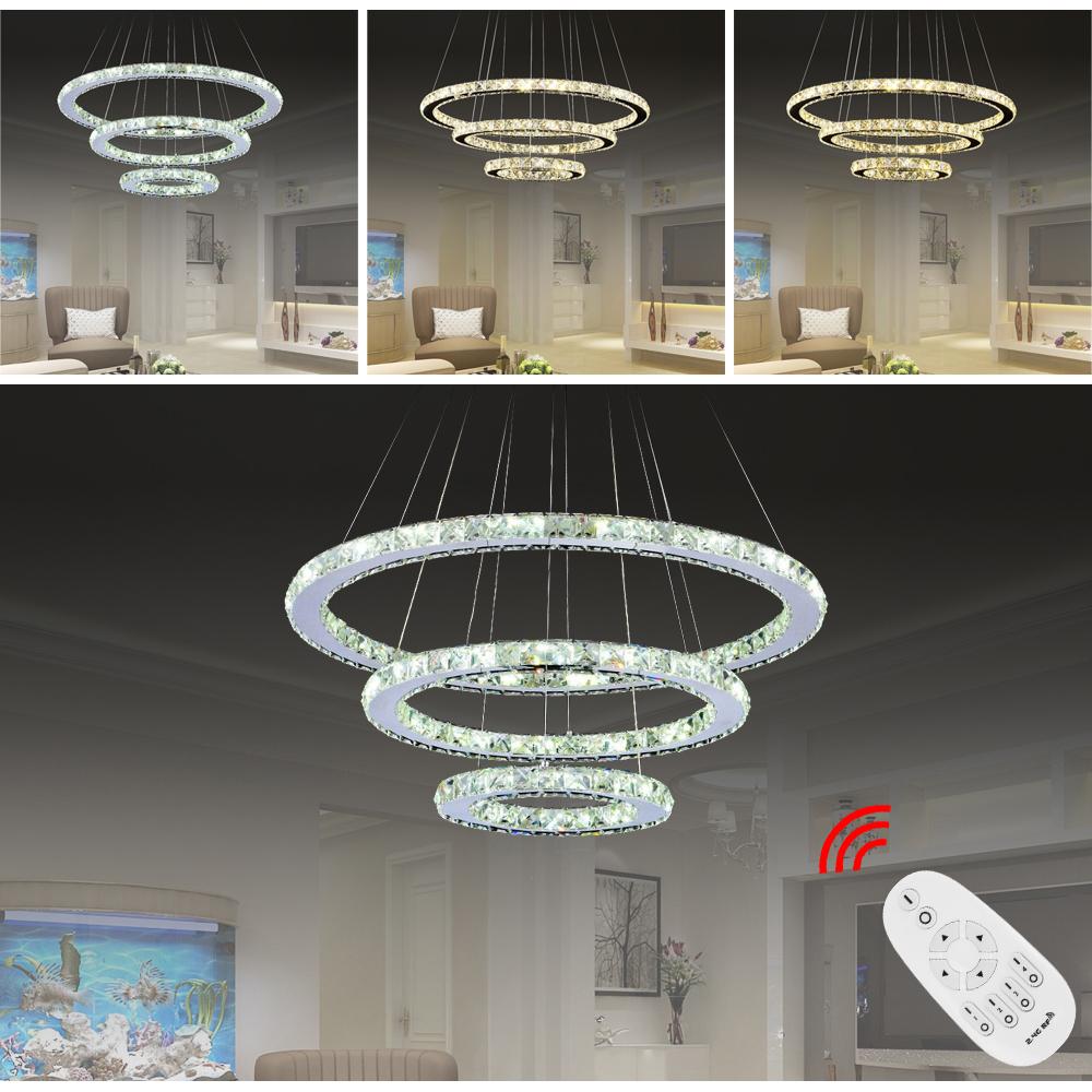 72w 3 ringe dimmbar led kristall h ngeleuchte. Black Bedroom Furniture Sets. Home Design Ideas
