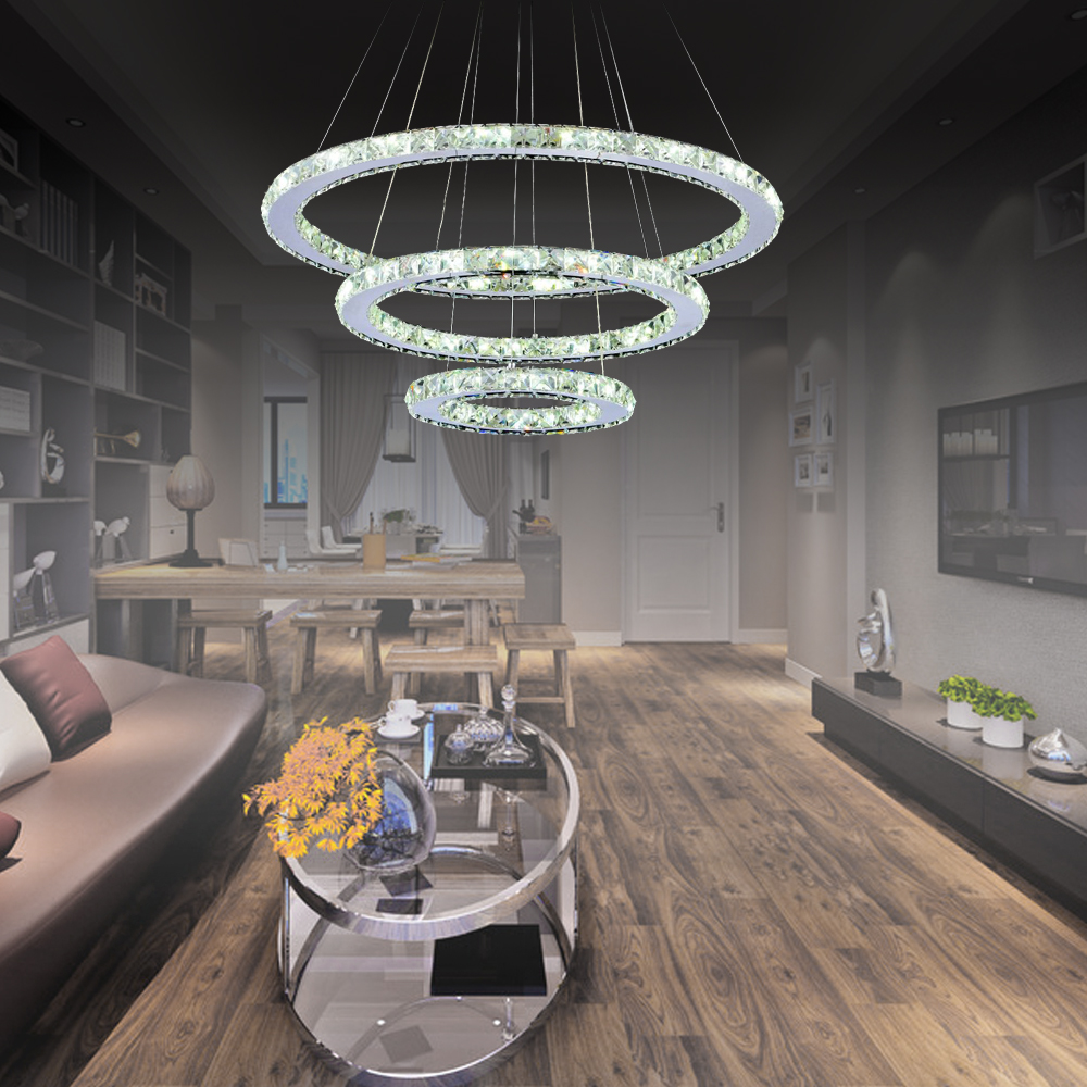 96w kristall h ngeleuchte led deckenleuchte dimmbar pendelleuchte 3 ringe ebay. Black Bedroom Furniture Sets. Home Design Ideas