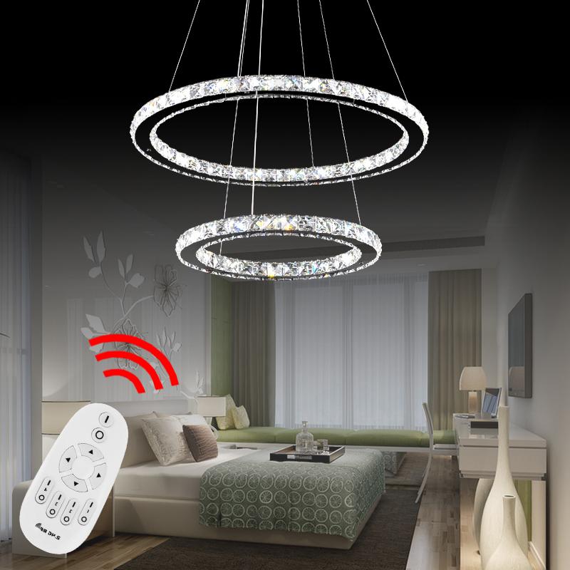 32w led h ngelampe deckenleuchte kristall pendelleuchte lampe dimmbar 2 ringe. Black Bedroom Furniture Sets. Home Design Ideas