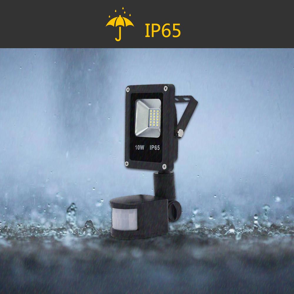 10w led flutlicht fluter au en strahler mit bewegungsmelder lampe ip65 sensor ebay. Black Bedroom Furniture Sets. Home Design Ideas