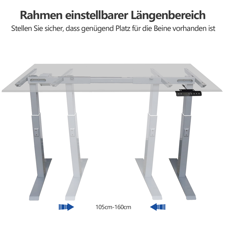 Höhenverstellbarer Schreibtisch Tischgestell elektrisch Hubsäulentisch grau