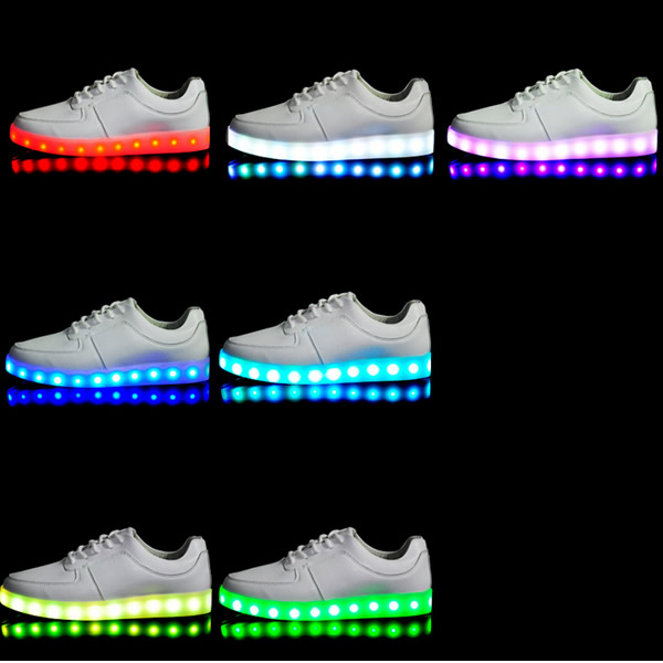 Details About Led Couples Men Women High Light Up Trainer Lace Up Flat Shoes Sneakers Luminous
