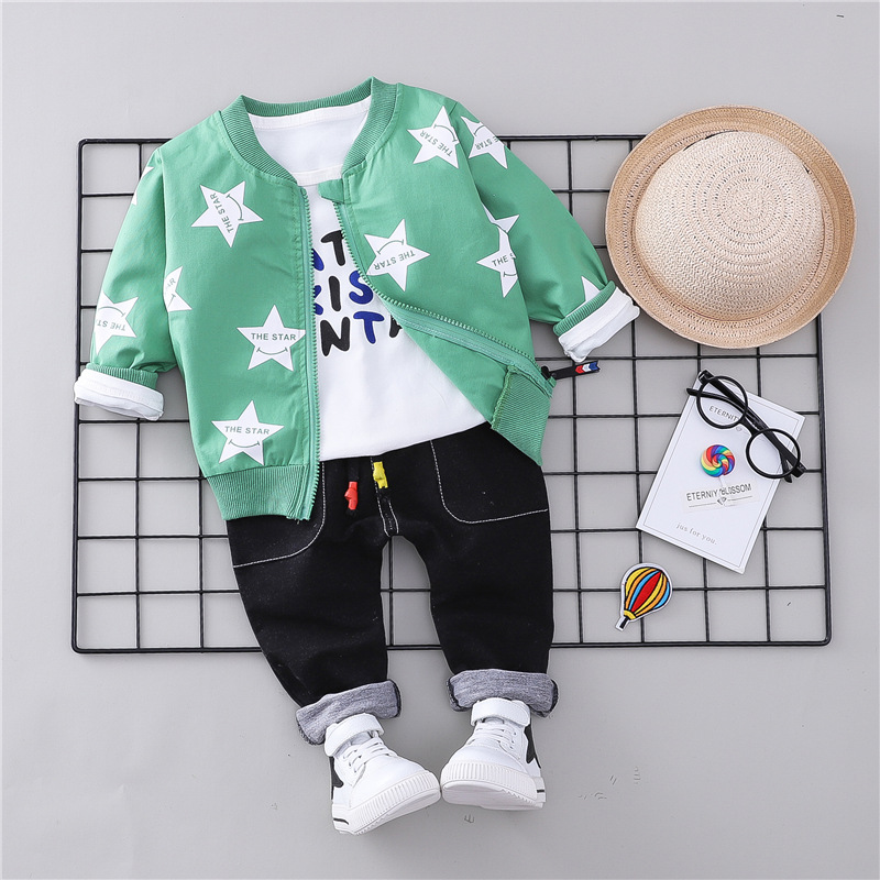 f0080410f 2019 Baby Boy Clothes 2018 Autumn Kids Cartoon Stars Suits Coat+Top+ ...