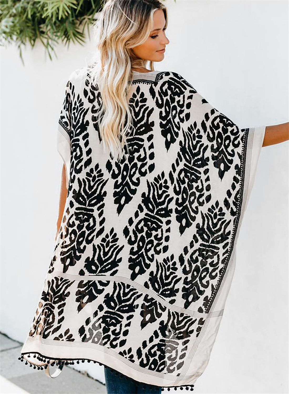 Black Prowess Pom Pom Kimono