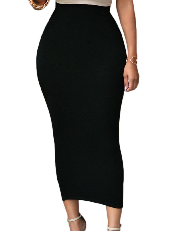 Solid Black High-waisted Bodycon Maxi Skirt