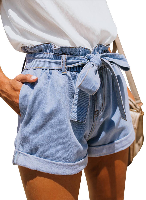 Women's Paper Bag Waist Denim Shorts, Light Blue